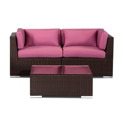 Aloha Makena Outdoor 3 Piece Deep Seating Group with Cushion Fabric: Orchid