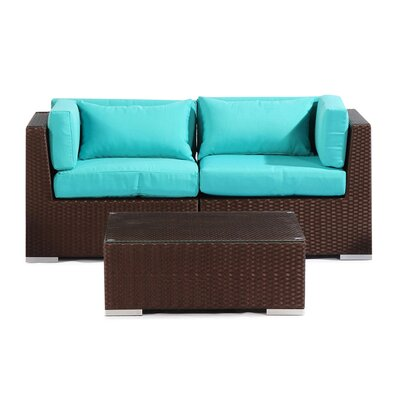 Aloha Makena Outdoor 3 Piece Deep Seating Group with Cushion Fabric: Turquoise