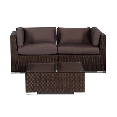 Aloha Makena Outdoor 3 Piece Deep Seating Group with Cushion Fabric: Graphite