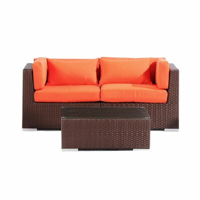 Aloha Makena Outdoor 3 Piece Deep Seating Group with Cushion Fabric: Orange