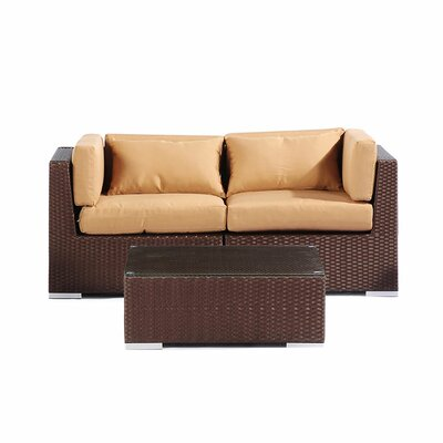 Aloha Makena Outdoor 3 Piece Deep Seating Group with Cushion Fabric: Taupe
