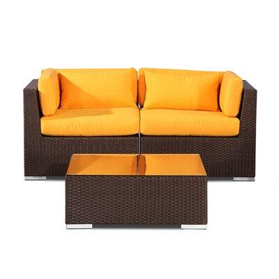 Aloha Makena Outdoor 3 Piece Deep Seating Group with Cushion Fabric: Yellow
