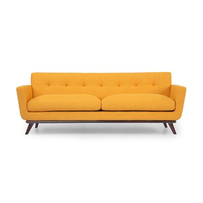Luther Mid Century Modern Vintage Sofa with Wood Legs Upholstery: Citrus Pop