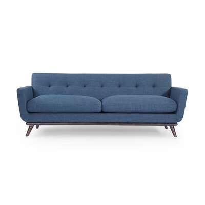 Luther Mid Century Modern Vintage Sofa with Wood Legs Upholstery: Blue Curacao
