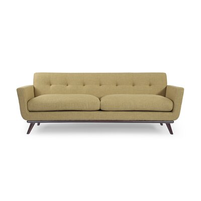 Luther Mid Century Modern Vintage Sofa with Wood Legs Upholstery: Lemon Grass