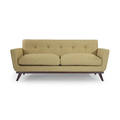 Luther Mid Century Modern Vintage Sofa with Flared Arms Upholstery: Lemon Grass