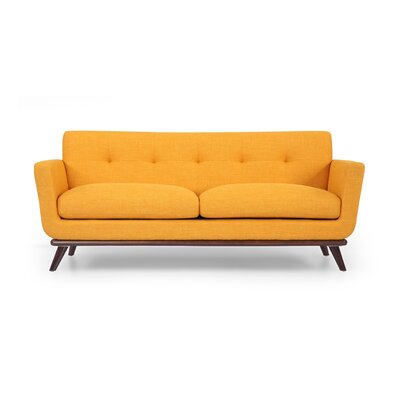 Luther Mid Century Modern Vintage Sofa with Flared Arms Upholstery: Citrus Pop