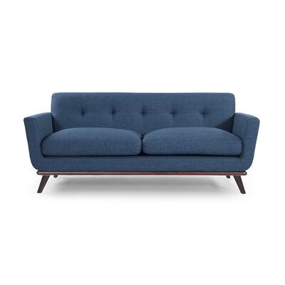 Luther Mid Century Modern Vintage Sofa with Flared Arms Upholstery: Blue Curacao