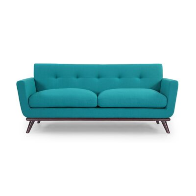 Luther Mid Century Modern Vintage Sofa with Flared Arms Upholstery: Turquoise