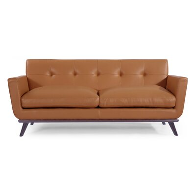 Luther Mid Century Modern Vintage Leather Sofa with Flared Arms Upholstery: Saddle Brown