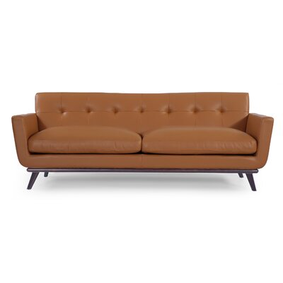 Luther Mid Century Modern Vintage Leather Sofa Upholstery: Saddle Brown