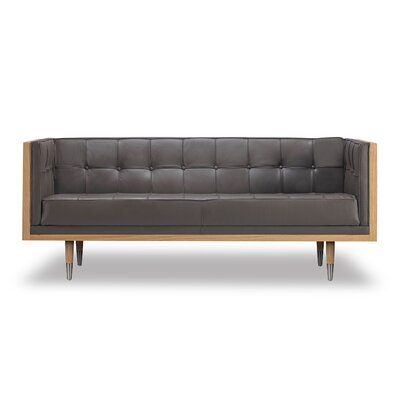 Arista Leather Chesterfield Loveseat Upholstery/Finish: Grey/Ash