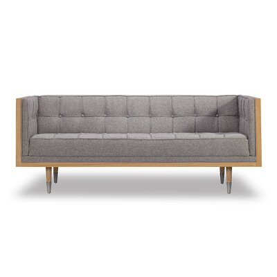 Arista Chesterfield Loveseat Upholstery: Urban Pebble, Frame Finish: Ash