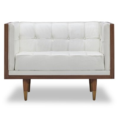 Arista Armchair Upholstery/Finish: White/Walnut