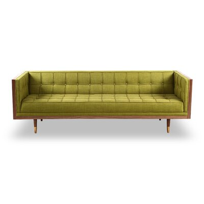 Arista Chesterfield Sofa Upholstery: Atomic Moss, Frame Finish: Walnut