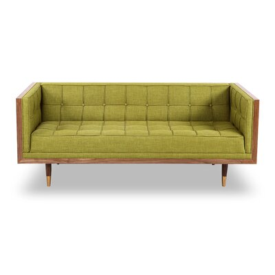 Arista Chesterfield Loveseat Upholstery: Atomic Moss, Frame Finish: Walnut