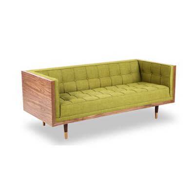 Arista Chesterfield Loveseat Upholstery: Urban Ink, Frame Finish: Walnut