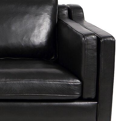 Rolando Top Grain Leather Sofa Upholstery: Black, Finish: Walnut