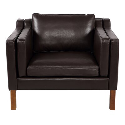 Rolando Top Grain Leather Club Chair Upholstery: Brown, Finish: Walnut