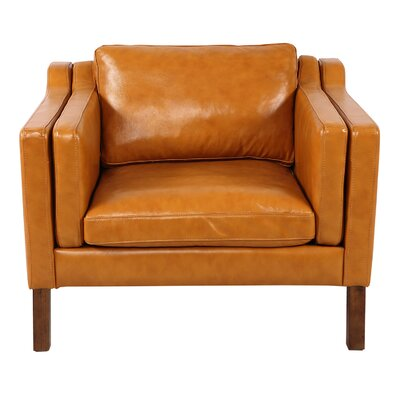 Rolando Top Club Chair Upholstery: Tan, Finish: Walnut