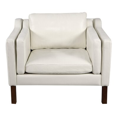 Rolando Top Grain Leather Club Chair Finish: Walnut, Upholstery: White
