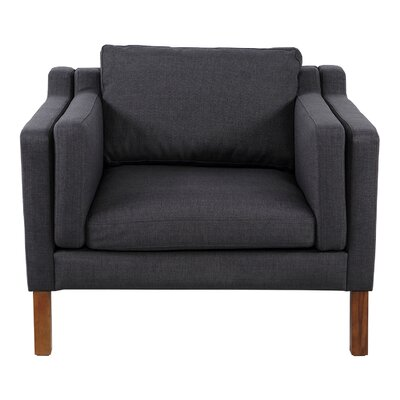 Rolando Arm Chair Upholstery: Urban Ink, Finish: Walnut