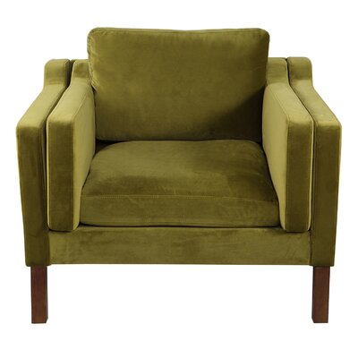 Rolando Upholstered Arm Chair Upholstery: Olive, Finish: Walnut