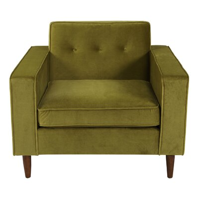 Potter Velvet Arm Chair Upholstery: Olive