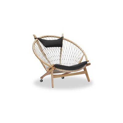 Dianne Mid-Century Modern Hoop Wooden Twill Papasan Chair Finish: Ash, Upholstery: Urban Ink