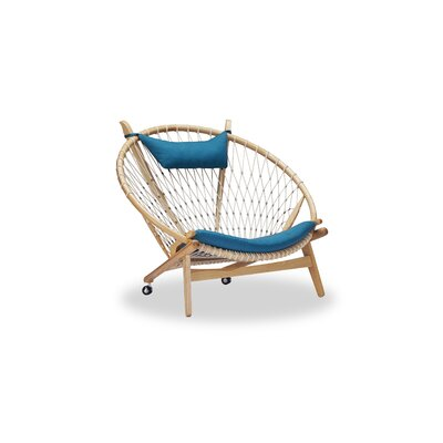 Dianne Mid-Century Modern Hoop Wooden Twill Papasan Chair Finish: Ash, Upholstery: Urban Surf