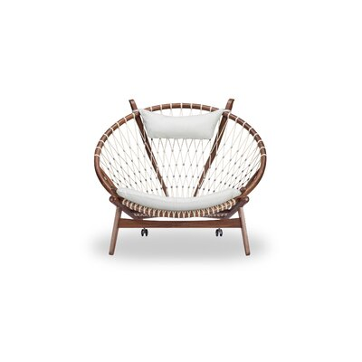 Deloris Mid-Century Modern Hoop Wooden Leather Papasan Chair Upholstery: White