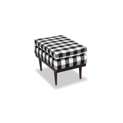 Agustin Midcentury Modern Ottoman Body Fabric: Windowpane Plaid