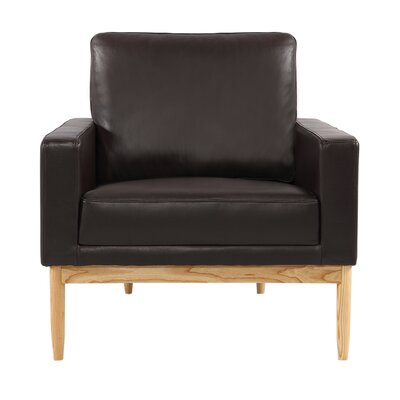 Ezra Armchair Body Fabric: Brown Aniline Leather, Leg Color: Ash