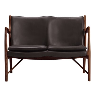 Rashad Mid-Century Modern Leather Loveseat Leg Finish: Walnut, Upholstery: Brown