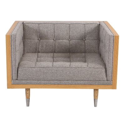Carey Mid-century Modern Box Armchair Leg Color: Ash/Gray, Body Fabric: Gray Velvet