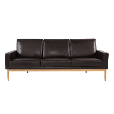 Stilt Danish Sofa Upholstery: Brown Aniline Leather, Leg Color: Ash