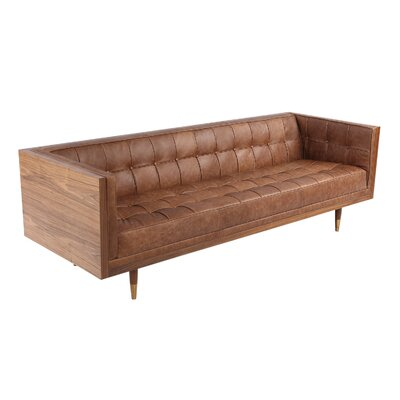 Carey Midcentury Modern Box Leather Sofa Upholstery: Brown