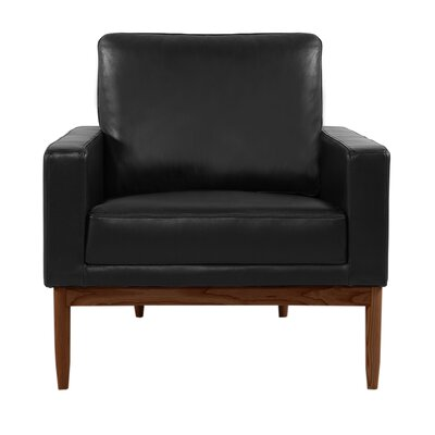 Ezra Armchair Upholstery: Black Aniline Leather, Leg Finish: Walnut