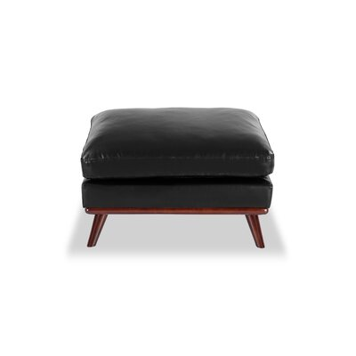 Luther Mid-Century Modern Ottoman Body Fabric: Black Aniline Leather