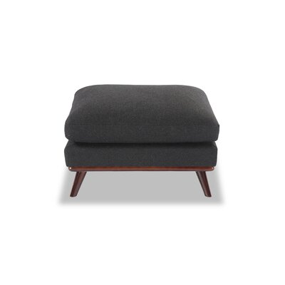 Luther Mid-Century Modern Ottoman Body Fabric: Charcoal Wool