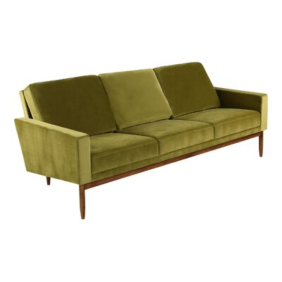 Stilt Danish Sofa Upholstery: Olive Velvet, Leg Color: Walnut