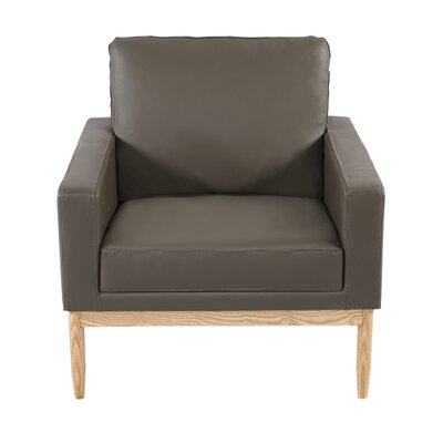 Ezra Armchair Body Fabric: Gray Aniline Leather, Leg Color: Ash