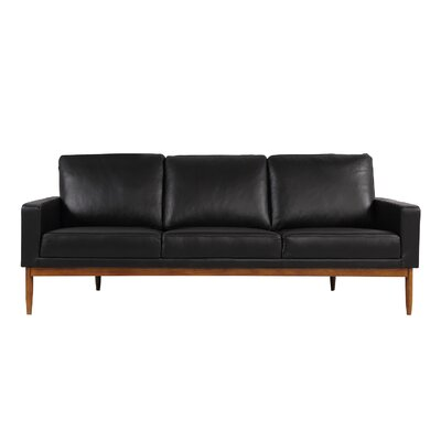 Stilt Danish Sofa Upholstery: Black Aniline Leather, Leg Color: Walnut
