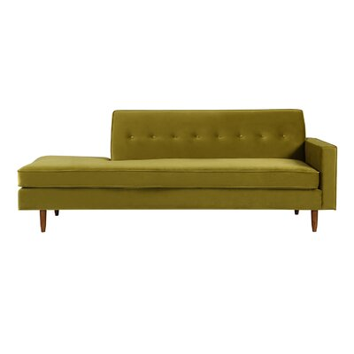 Mickey Mid-Century Modern Classic Sofa Sectional Body Fabric: Olive Velvet, Leg Color: Brown