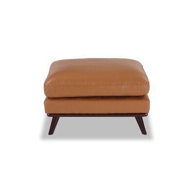 Luther Mid-Century Modern Ottoman Body Fabric: Saddle Aniline Leather