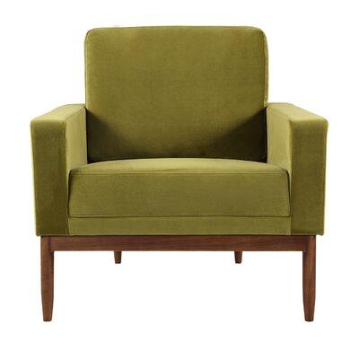 Ezra Armchair Upholstery: Olive Velvet, Leg Finish: Walnut
