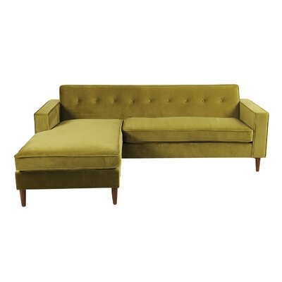 Mickey Mid-Century Modern Sofa Sectional Body Fabric: Olive Velvet, Leg Color: Light Brown