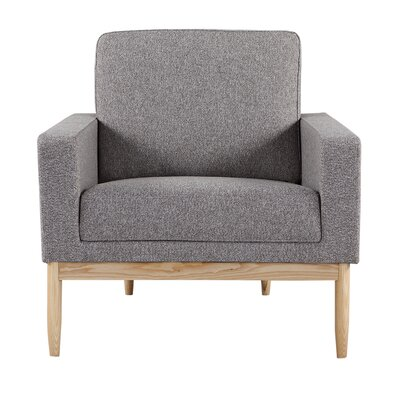 Ezra Armchair Body Fabric: Urban Pebble Twill, Leg Color: Ash