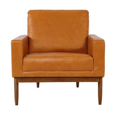 Ezra Armchair Upholstery: Tan Aniline Leather, Leg Finish: Walnut