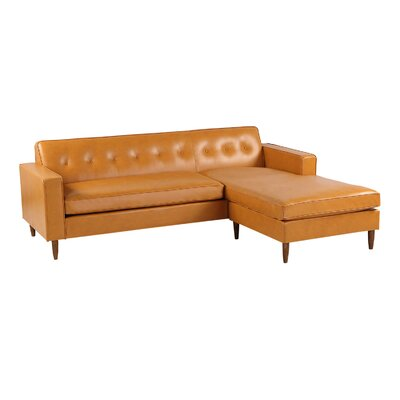 Mickey Mid-Century Modern Sofa Sectional Body Fabric: Tan Aniline Leather, Leg Color: Light Brown